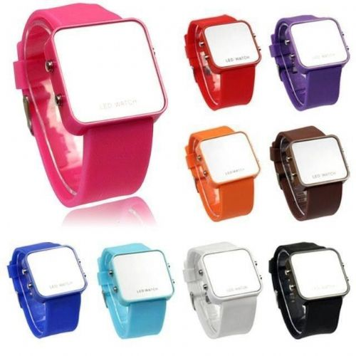 New Design Fashion LED Mirror Face Digital Wrist Watch Unisex Gift